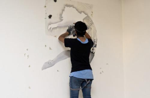 Indigo beschildert muur in kantoorruimte singel 146
